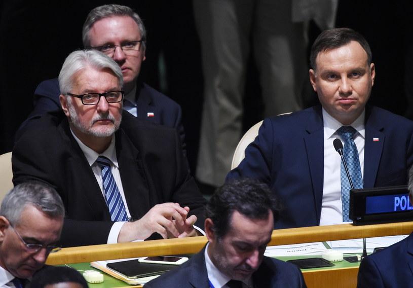 Minister spraw zagranicznych Witold Waszczykowski i prezydent Andrzej Duda podczas rozpoczęcia debaty generalnej 72. sesji Zgromadzenia Ogólnego ONZ /Radek Pietruszka /PAP