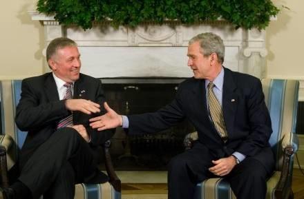 Mirek Topolanek i George Bush /AFP