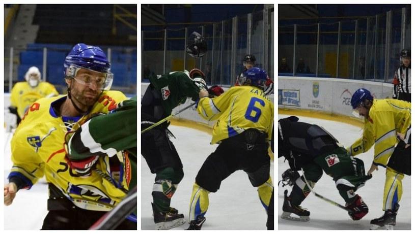 Miroslav Zatko wygrał walkę na pięści z Marcinem Jarosem, ale dostał karę za rzucenie rękawic, przez którą Orlik przegra mecz. /Hokej.net