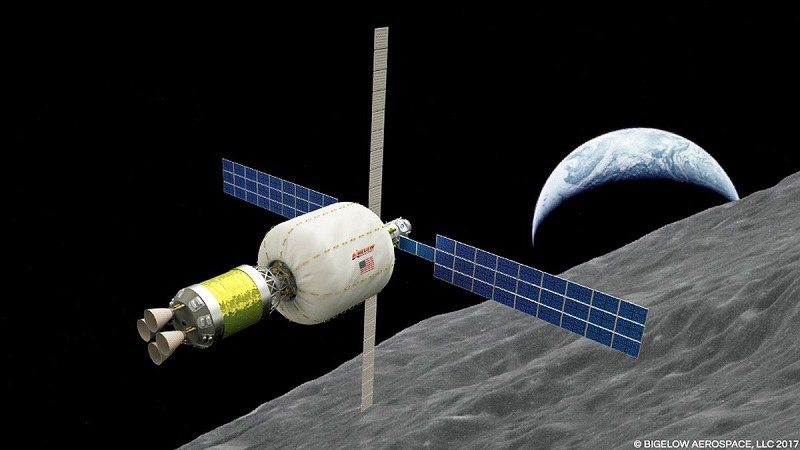 Moduł B330 z górnym stopniem ACES na orbicie okołoksiężycowej /materiały prasowe