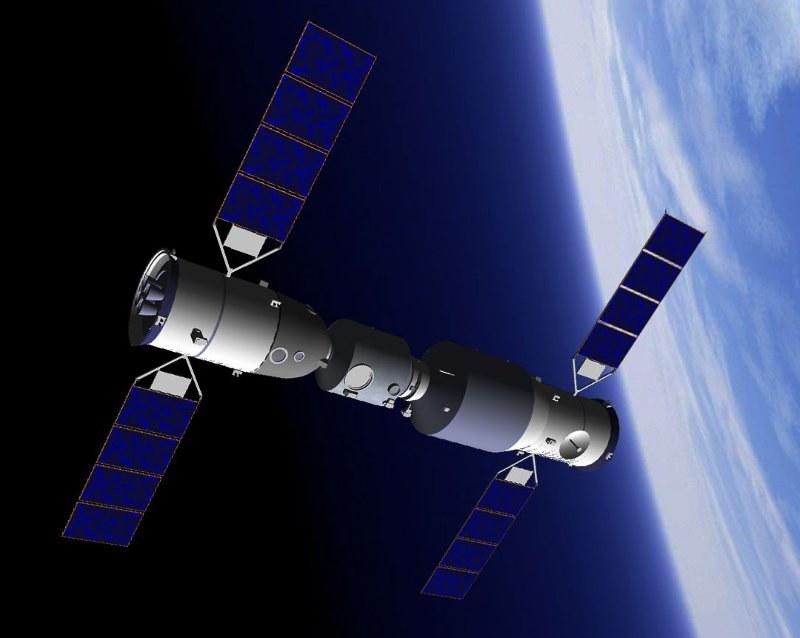 Moduł Tiangong-1 i Shenzhou-10 / Grafika wykonana przez Junior Miranda /Kosmonauta