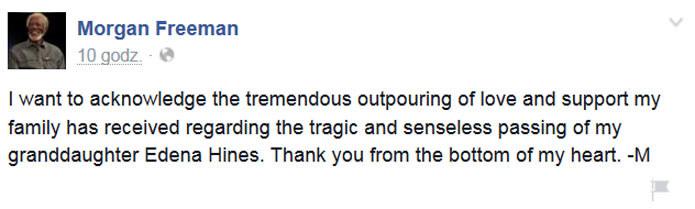 Morgan Freeman podziękował za wsparcie we wspisie na Facebooku /Facebook