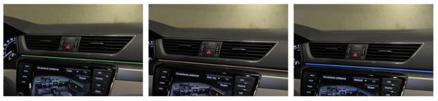 Można wybrać jeden z trzech kolorów oświetlenia ambientowego. Świecące listwy na desce rozdzielczej i drzwiach wraz z oświetleniem m.in. nóg i klamek kosztują 650 zł. /Motor