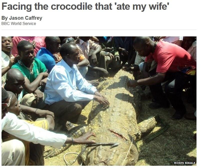 Mubarak Batambuze zabił krokodyla ludojada. Źródło: BBC /