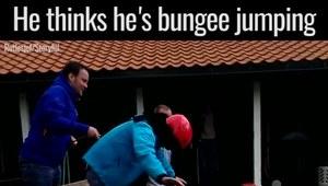 Myślał, że skacze na bungee