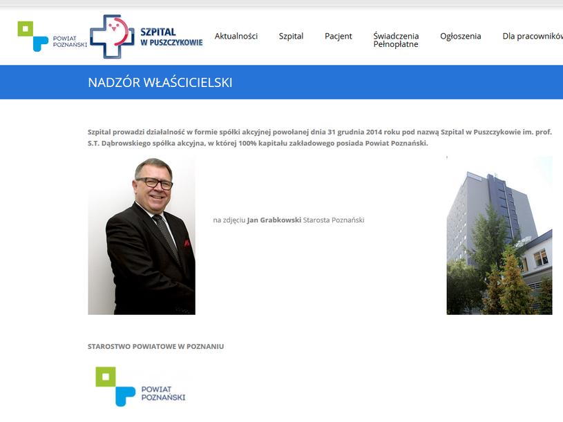"""Na stronie szpitala w zakładce """"nadzór włascicielski"""" znajduje się zdjęcie Grabkowskiego /www.szpitalpuszczykowo.pl /"""