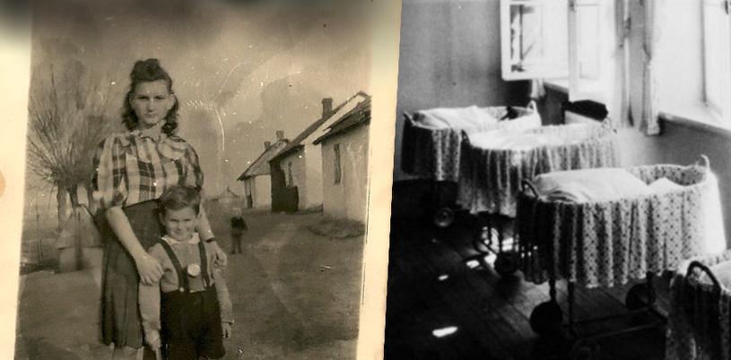 Na zdjęciu po lewej Janina Drygas, na zdjęciu po prawej ośrodek Lebensbornu (Hulton Archive /Getty Images) /