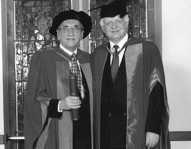 Na zdjęciu Tadeusz Mazowiecki i prof. Bogdan Szajkowski (Exeter) /University of Exeter /INTERIA.PL