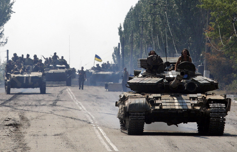 Na zdjęciu ukraińska kolumna gdzieś między Donieckiem a Ługańskiem, 14 sierpnia /ANATOLII STEPANOV /AFP