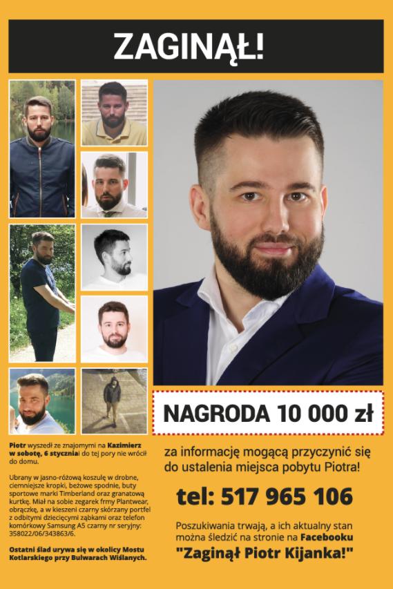 Nagroda za pomoc w odnalezieniu Piotra Kijanki /facebook.com
