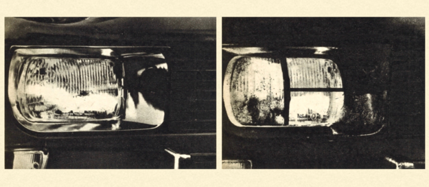 """Najbardziej interesujący szczegół samochodów SAAB z roku 1971 — wycieraczki reflektorów połączone ze zmywaczami. Na zdjęciu z prawej widać wyraźnie przesuwające się piórko wycieraczki, osadzone na popychaczu teleskopowym. Po wytarciu szyby reflektora piórko wycieraczki wraca samoczynnie do położenia """"garażowego"""". Tylko patrzeć, jak podobne rozwiązania pojawią, się i w innych samochodach."""