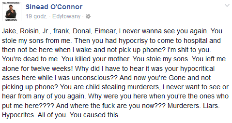Najnowszy post Sinead O'Connor na Facebooku /Facebook /