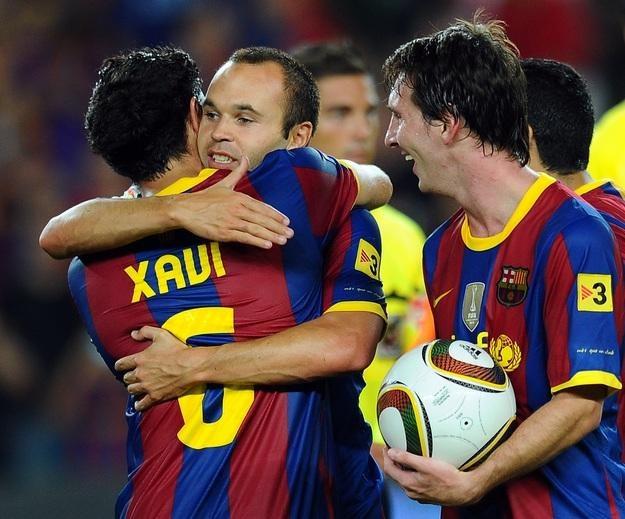 Największe gwiazdy Barcelony (od lewej): Xavi Hernandez,  Andres Iniesta i Lionel Messi. /AFP