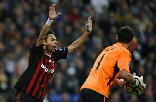 Napastnik AC Milanu Filippo Inzaghi i bramkarz Realu Iker Casillas /AFP