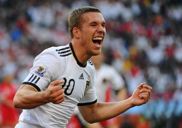 Napastnik Niemiec Łukasz Podolski błyszczy podczas mundialu w RPA /AFP
