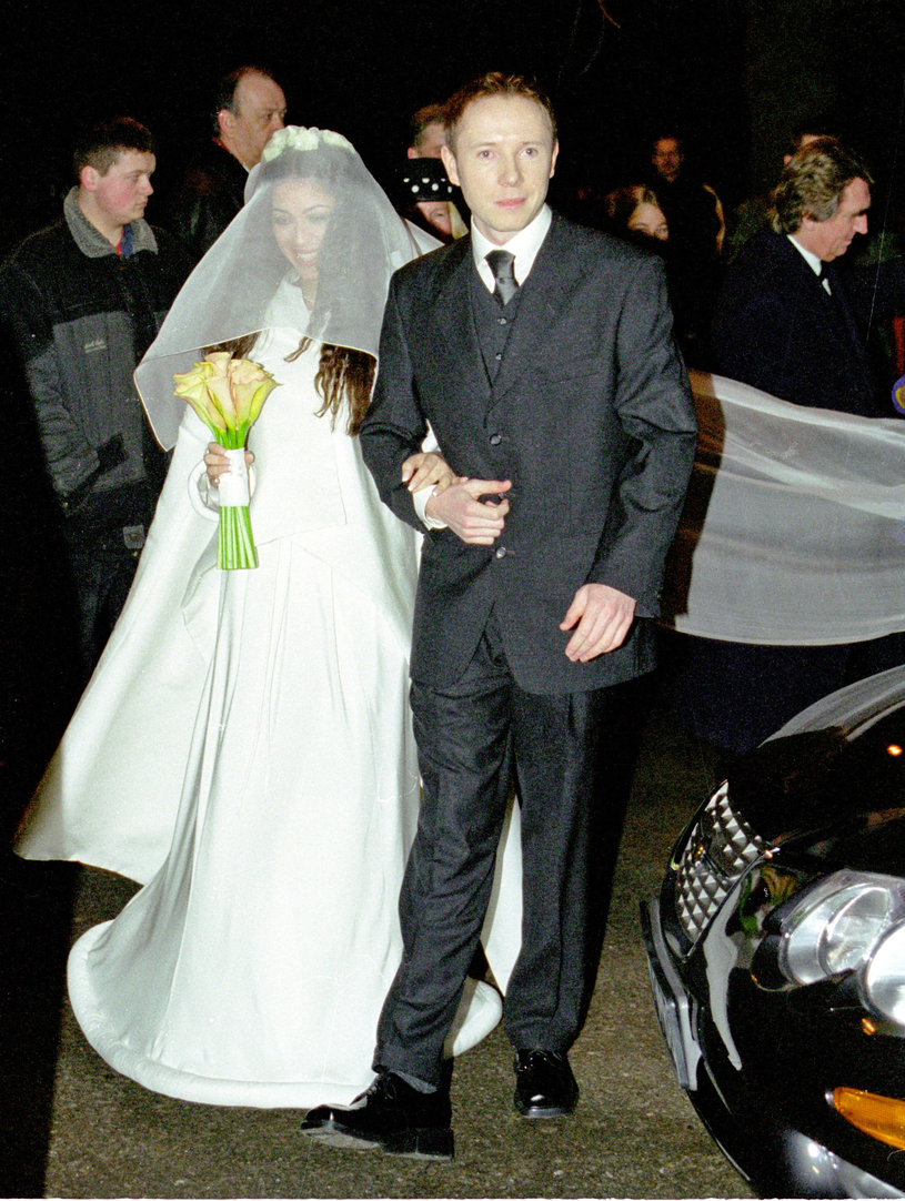Natalia Kukulska z Michałem Dąbrówką w dniu ślubu (2000 r.) /Krzysztof Jarosz /Agencja FORUM