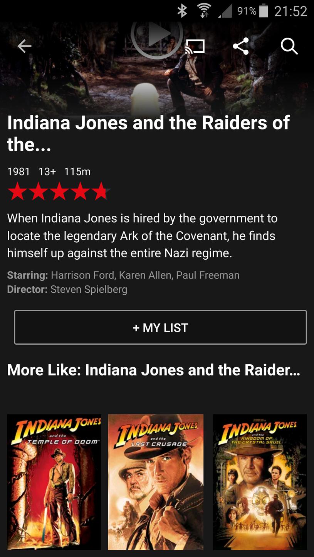 Netflix obsługiwany z poziomu aplikacji dla systemu Android. W serwisie znajdziemy filmy fabularne - dostępne są tak naprawdę nieliczne produkcje, oferta zmienia się co miesiac /INTERIA.PL