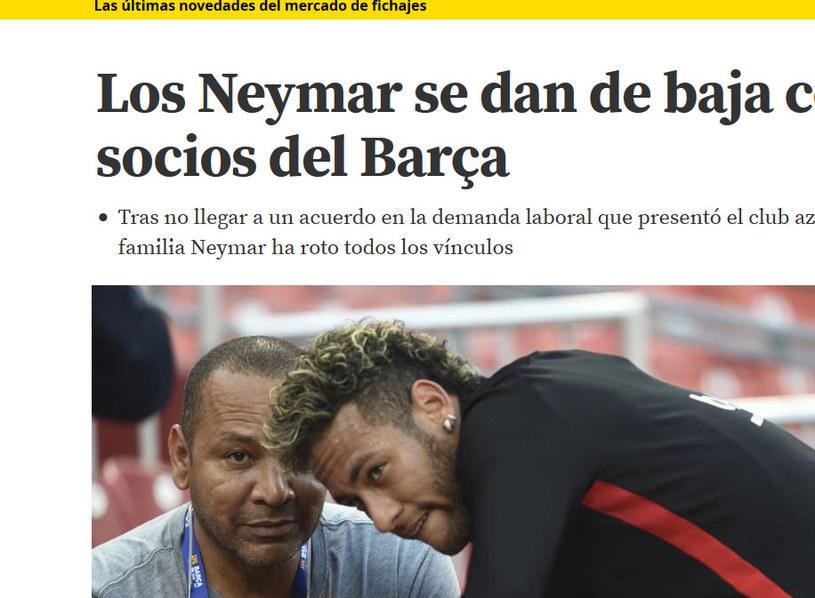 """Neymar i jego ojciec w """"Mundo Deportivo"""" /"""
