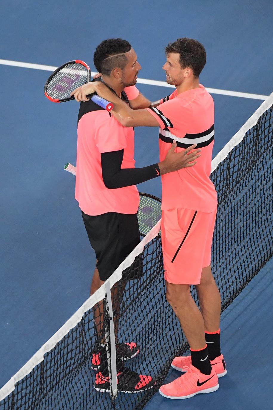Nick Kyrgios i Igor Dimitrow podczas 1/8 finału Australian Open /TRACEY NEARMY   /PAP