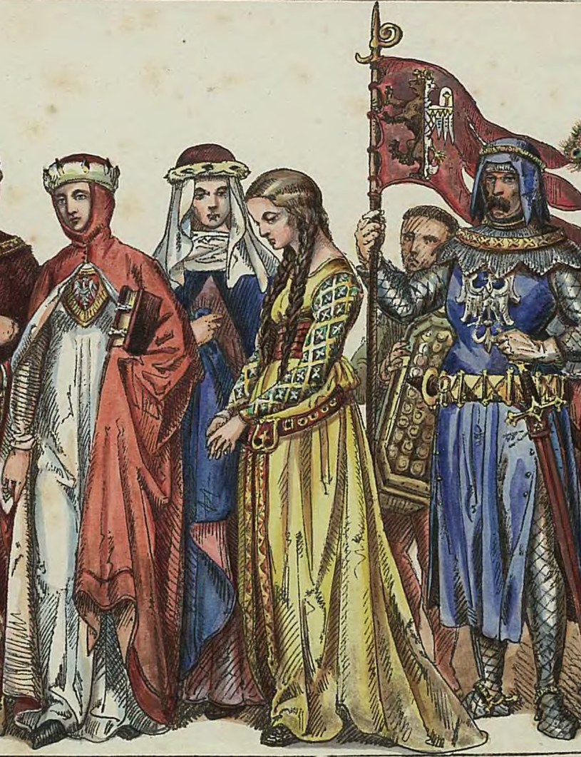 Nie jest znany żaden portret Jadwigi Kaliskiej. Powyżej tablica prezentująca stroje dworskie z przełomu XIII i XIV stulecia autorstwa Jana Matejki. Można sobie wyobrażać, że podobnie ubierała się także polska królowa (domena publiczna) /Ciekawostki Historyczne