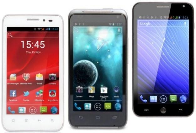 Niedrogie smartfony z dużymi ekranami - Prestigio PAP 4300 DUO, MediaDroid Imperius 4.3HQ i GoClever Fone500. /materiały prasowe