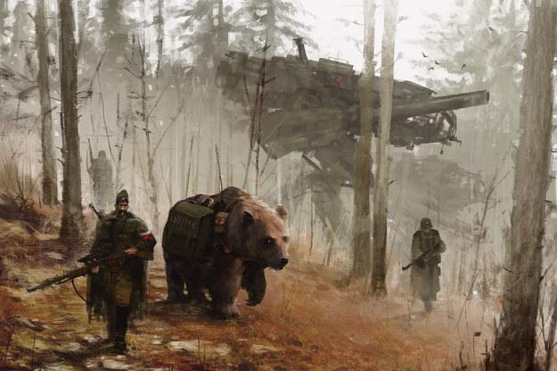 """Niedźwiedź Wojtek, praca """"Into the wild"""", źródło: www.artstation.com/artist/jakubrozalski /INTERIA.PL"""
