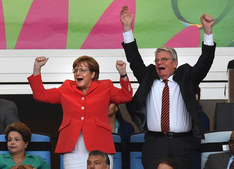 Niemiecka kanclerz i prezydent kibicują swojej drużynie na mundialu /MARCUS BRANDT /PAP/EPA