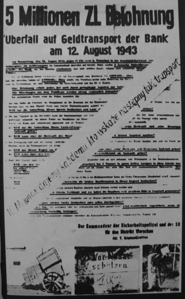 Niemiecki plakat z obiektnicą 5 mln zł nagrody za informacje o sprawcach napadu na konwój Banku Emisyjnego /Wikipedia