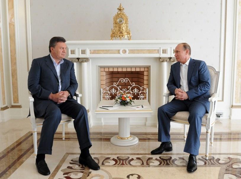 Nieoczekiwane spotkanie Wiktora Janukowycza i Władimira Putina /PAP/EPA