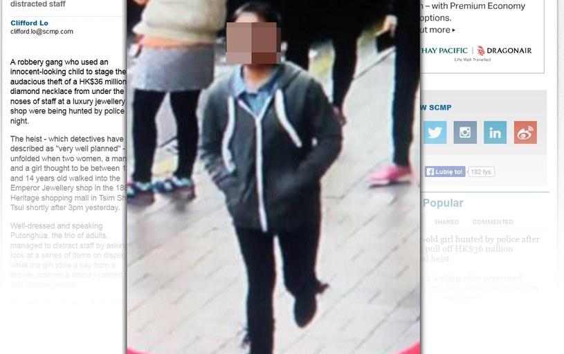 Niepozorna dziewczynka ukradła naszyjnik wart miliony. Fot: www.scmp.com /