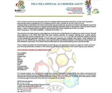 Nigeryjskie oszustwo na Euro 2012