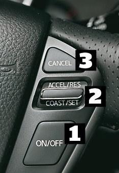 Nissan Przycisk [1] to włącznik, [2] do góry podnosi prędkość lub przywraca zapamiętaną, do dołu obniża prędkość lub zapamiętuje nową, a [3] kasuje zapis. /Motor