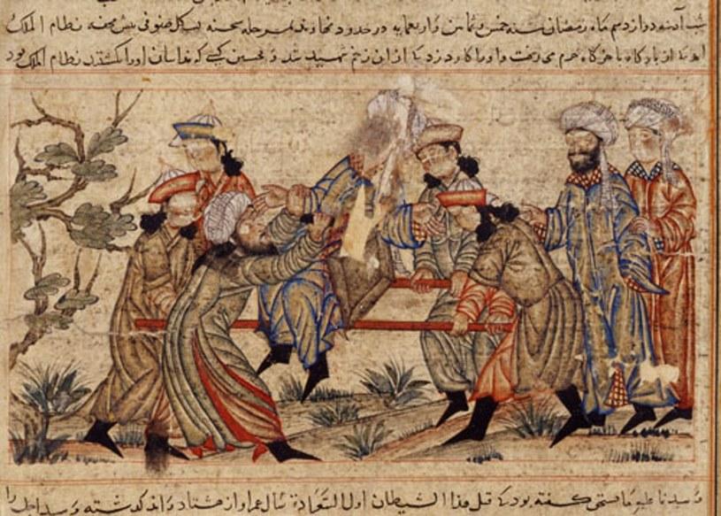 Nizam al-Mulk ginie z rąk asasyna. Scena przedstawiona na obrazie z XIV wieku /Wikipedia /materiały prasowe
