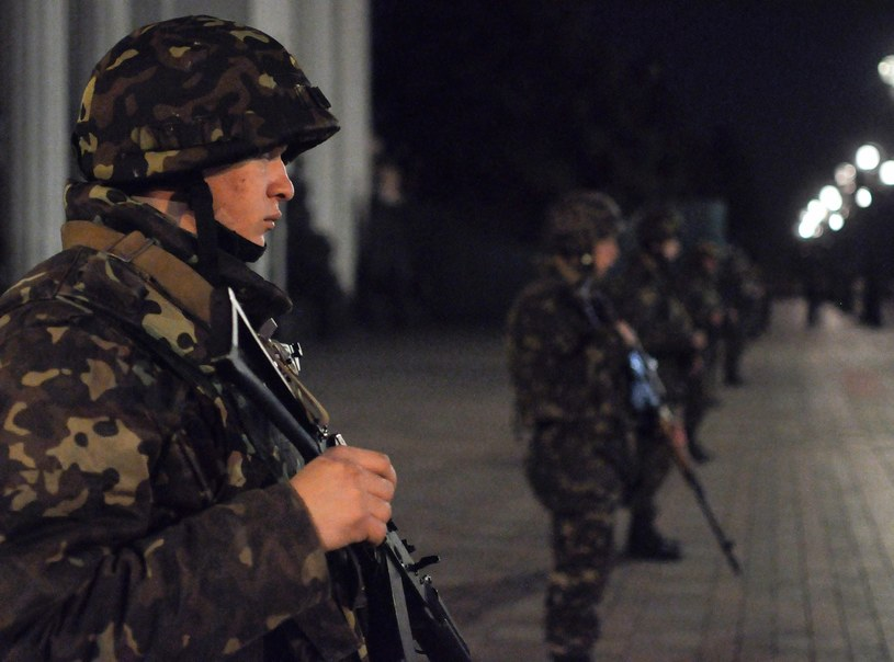 Nocne ćwiczenia w Kijowie /PAP/EPA