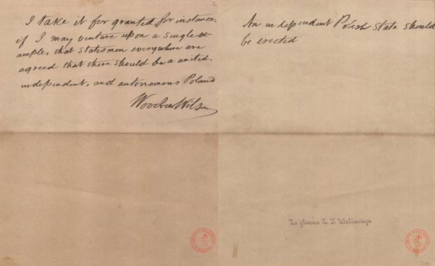 """Nota Wilsona, w której Prezydent Woodrow Wilson zawarł 13 punkt orędzia wygłoszonego 100 lat temu, 8 I 1918 r. w Kongresie USA. """"Powinna powstać niezależna Polska""""! /Archiwum Akt Nowych"""