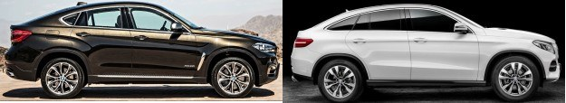 Nowe BMW X6 (F16) oraz Mercedes GLE Coupe - widok z profilu. /magazynauto.pl