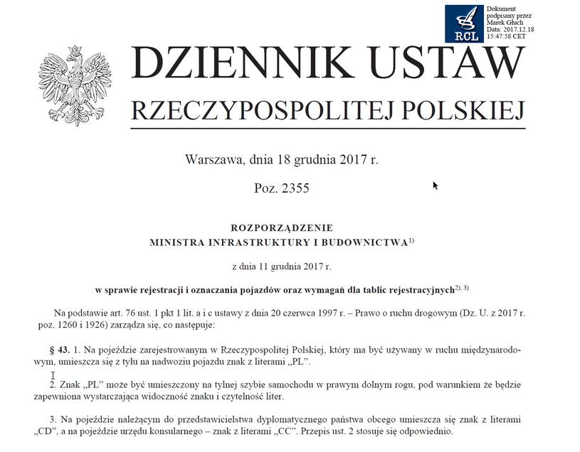 Nowe przepisy opublikowano w Dzienniku Ustaw w połowie grudnia /