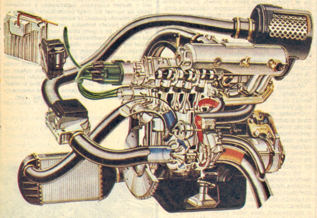 Nowoczesna technika osiągania wysokich mocy wydaje się skomplikowana: chłodzenie tłoków strumieniami oleju, przechładzanie sprężanego powietrza, elektroniczny zapłon i tylko 1300 cm3 pojemności skokowej. /Fiat