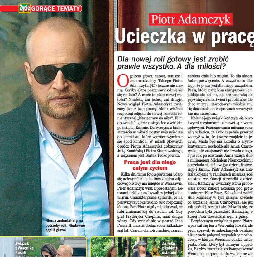 """O przemianie Piotra Adamczyka pisze tygodnik """"Życie na gorąco"""" /Życie na gorąco"""