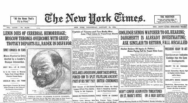 """O śmierci Lenina informowały 88 lat temu gazety na całym świecie, także """"The New York Times"""" /New York Times/©The International Herald Tribune"""