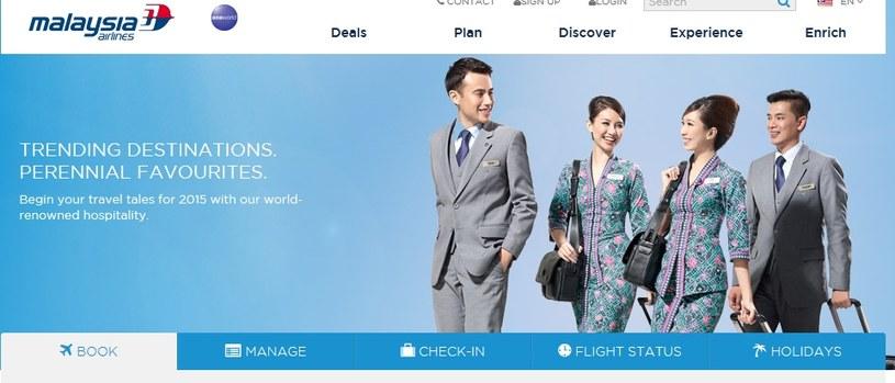 Obecnie nie ma już problemów ze stroną internetową przewoźnika, fot. http://www.malaysiaairlines.com/ /