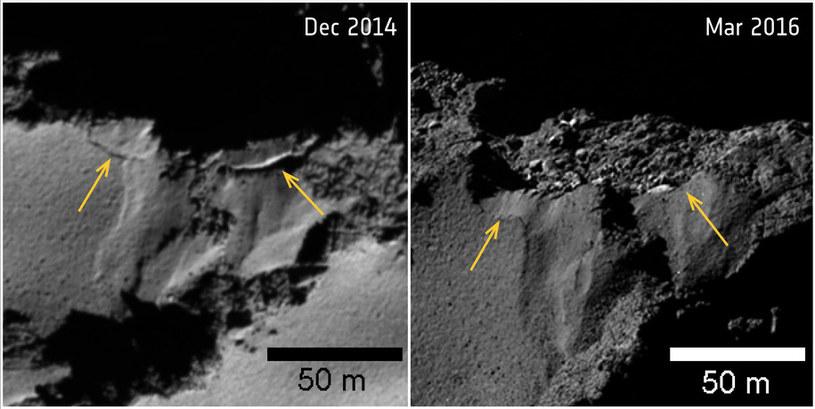 Oberwanie klifu w rejonie Ash. Zdjęcie po lewej wykonano 2 grudnia 2014 roku (przed zbliżeniem do Słońca) i 12 marca 2016 roku, gdy kometa juz się oddalała /materiały prasowe