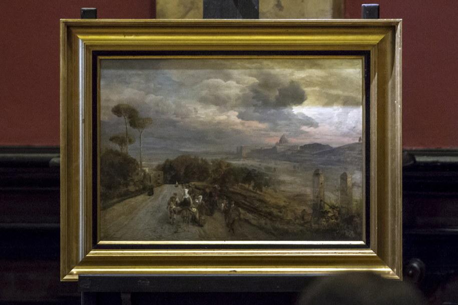 Obraz pochodzi z przedwojennych zbiorów Śląskiego Muzeum Sztuk Pięknych we Wrocławiu, zaginął podczas wojny /Aleksander Koźmiński /PAP