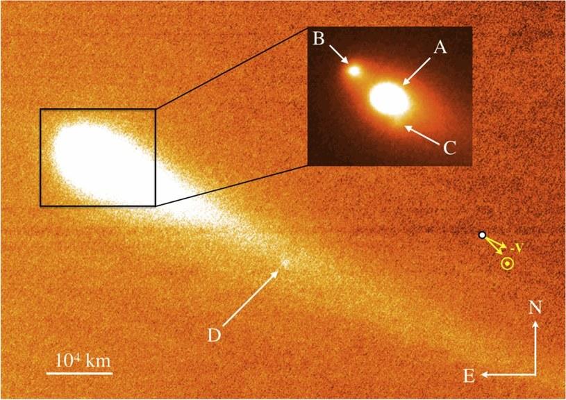 Obraz teleskopu Keck - fragmentacja P/2013 R3 (październik 2013) /materiały prasowe