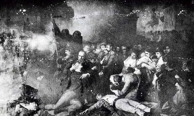 Obraz Tony'ego Robert-Fleury'ego dokumentujący masakrę manifestacji w Warszawie przez carskie wojska /Wikimedia