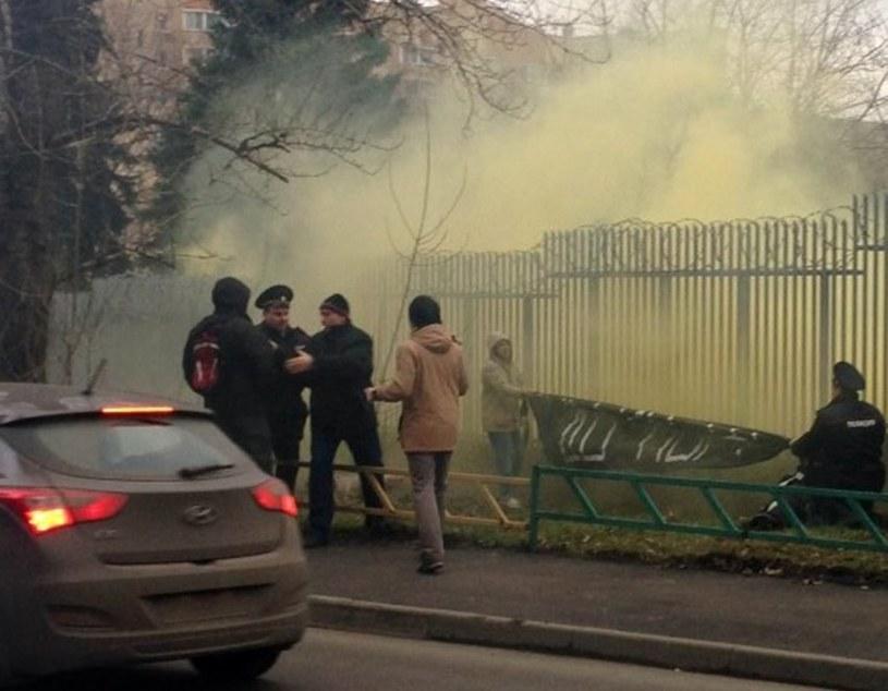 Obrzucenie racami ambasady Polski w Moskwie /ITAR-TASS    /Agencja FORUM