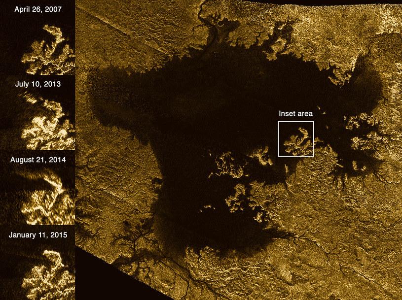 Obszar Ligeia Mare na księżycu Saturna, Tytanie z zaznaczoną tajemniczą wyspą /NASA