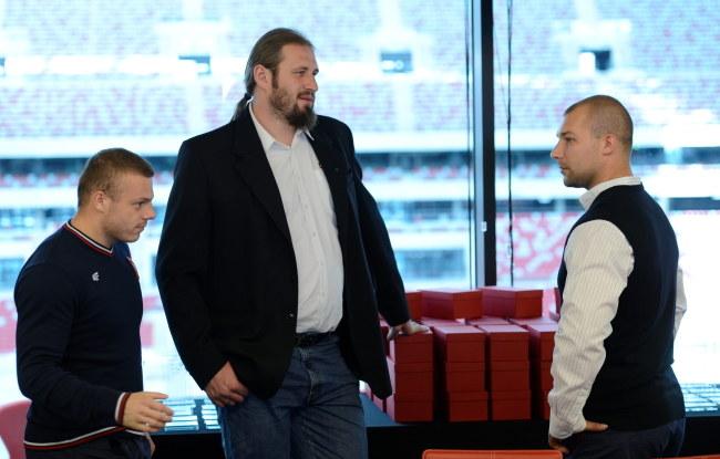 Od lewej: Adrian Zieliński, Tomasz Majewski i Bartłomiej Bonk /Bartłomiej Zborowski /PAP