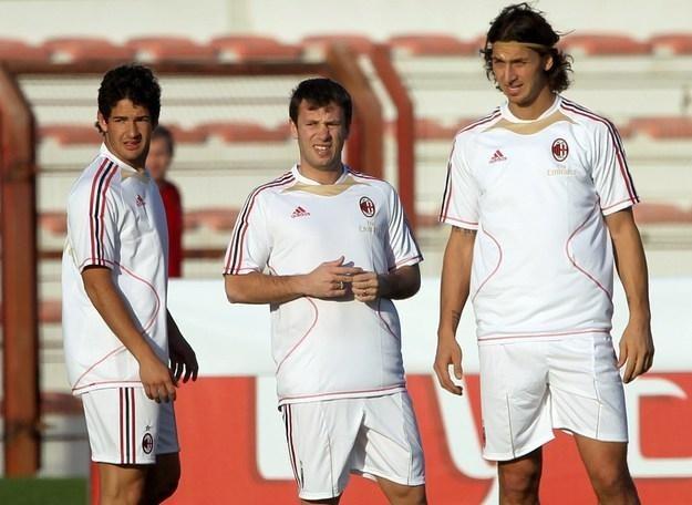 Od lewej Alexandre Pato, Antonio Cassano i Zlatan Ibrahimović. Gwiazdy ataku AC Milan /AFP