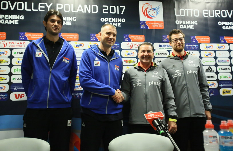 Od lewej: Dragan Stanković, Nikola Grbić, Ferdinando De Giorgi i Michał Kubiak /Fot. Leszek Szymański /PAP